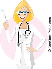 Blonde doctor with syringe