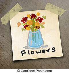 packing paper - flowers draw on the packing paper box...