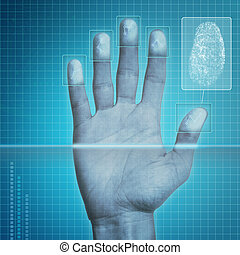 Fingerprint Security - Futuristic fingerprint scanning...