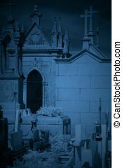 escuro, cemitério