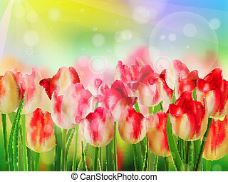 Red tulip bokeh template EPS 10 - Red tulip bokeh template...