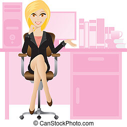 Blonde secretary - Illustration of female secretary sitting...