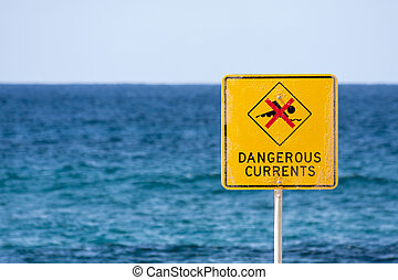 Dangerous currents sign on beach - Dangerous currents sign...