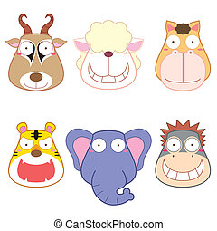 cartoon animal head set, vector.