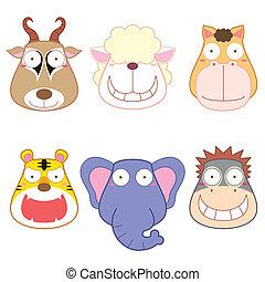 głowa, komplet, rysunek, zwierzę