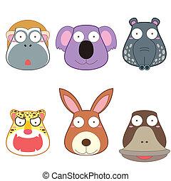 卡通, 動物, 頭, 集合
