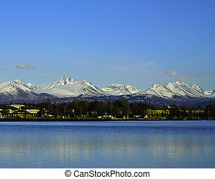 Chugach mountain range Alaska - A view of the Chugach...