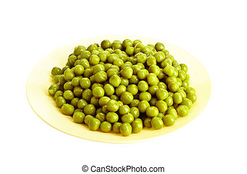 Canned green pea on the yellow dish