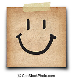 short note - smile draw on the short note grunge paper...