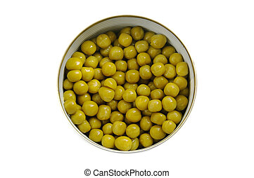 Canned green pea in the metal can