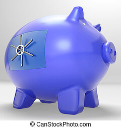 Safe Piggybank Shows Savings Cash Protected Secured