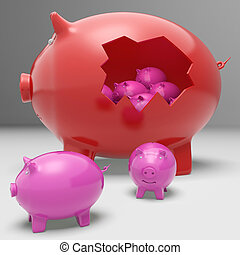 Piggybanks Inside Piggybank Showing Saving Accounts And Banking