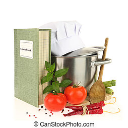 Cookbook, vegetables and casserole isolated on white
