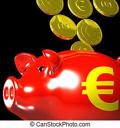 Coins Entering Piggybank Shows European Deposits