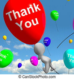 Thank You Balloons Showing Thanks And Gratefulness - Thank...