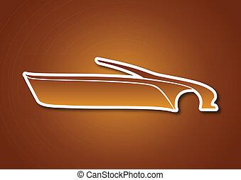 Golden auto logo over caramel