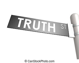 Truth street sign - Hi-res original 3d-rendered computer...