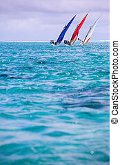 Regatta - Sailing regatta in Mauritius. Colorful traditional...