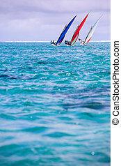 Regatta - Sailing regatta in Mauritius. Colorful traditional...