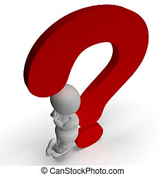 Question Marks And Man Shows Uncertain Or Unsure - Question...
