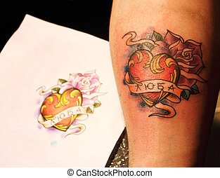 Finished tattoo with sketch - Finished fresh tattoo with...