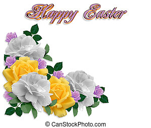 Easter Card Spring Roses Border
