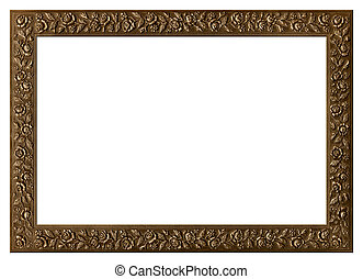 Decorative bronze frame with floral ornament isolated on...