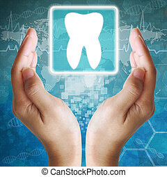 Tooth icon in hand,medical background