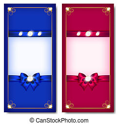 Greeting cards blue and pink - Vector illustration -...