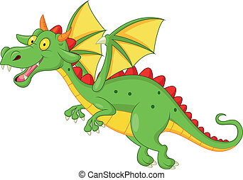 Cute dragon cartoon flying - Vector illustration of Cute...