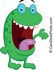 Cute green monster cartoon - Vector illustration of Cute...