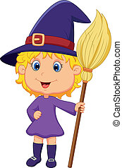 Cute cartoon witch - Vector illustration of Cute cartoon...