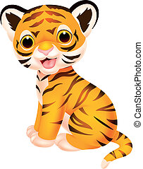 Cute tiger cartoon - Vector illustration of Cute tiger...