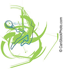 Sketch of man playing tennis Vector illustration