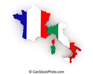 Dessin de carte, italy., france - Map, de, France, et, Italy., 3d csp14744042 - Recherchez des ...