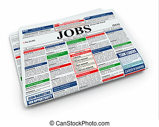 Search job. Newspaper with advertisments. 3d - Search job....