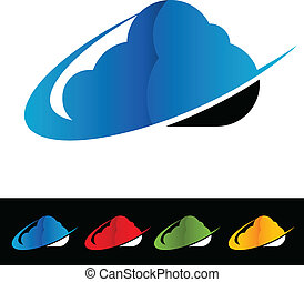 Swoosh Cloud Computing Icons - Cloud computing icons with...