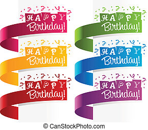 Happy Birthday Banners - Set of birthday banners with...