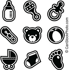 Baby Shower Icons - Set of black and white baby shower...
