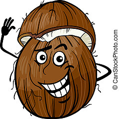 funny coconut fruit cartoon illustration - Cartoon...