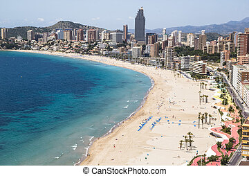 Hotels and beach of Benidorm Sky and sea Photo