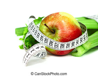 Celery apple and measure tape diet concept isolated on white...