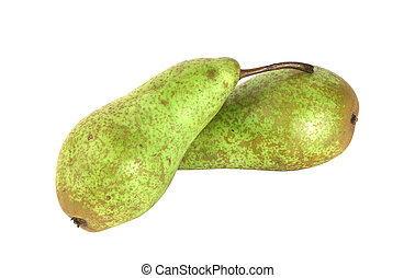 Two pears - Two fresh green pears isolated on white