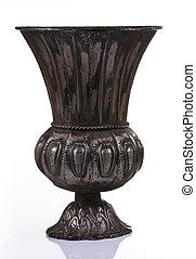 escuro, metal, vaso