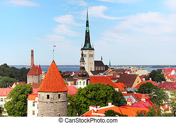 Old Town of Tallinn - View over the Old Town of Tallinn,...