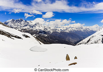 Himalayas mountains panorama landscape view in Annapurna...