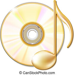 Gold musical note and cd disk - music icon. Vector...
