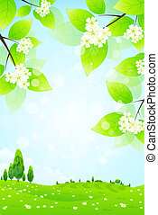 Green Landscape with Flowers - Green Landscape with Tree...