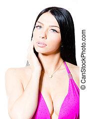 sexy beautiful woman in bikini on white background