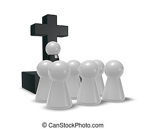church service - simple pastor figure, christian cross...